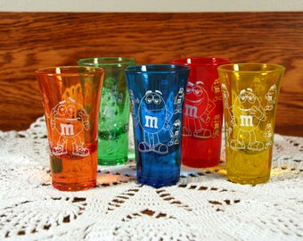 M & M shot glasses-set of 5-variety of bright primary colors-etched glass-mid century barware