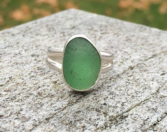 Sea Glass Ring, engagement ring, bezel set in fine & argentium silver, green English sea glass, rare, Eco friendly, beach ocean jewelry,wome