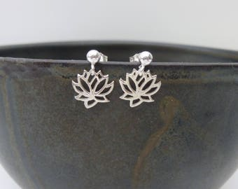 Lotus flower earrings, lotus earrings, lotus flower jewellery, yoga jewellery, yoga gift
