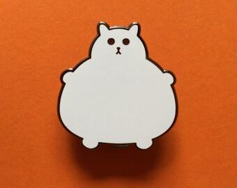 Enamel Cat Brooch - Enamel Badge - Lapel Pin - Cat brooch - Fat Kitty - White Cat Brooch - Cat Pin - Cat Lover Gift - Hard Enamel Cat Brooch