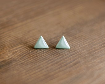 Blue powder earrings - triangle stud earrings - geometric - minimalist