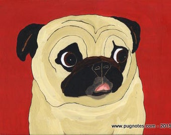 Pug  Note Cards - Fawn Pug -  Pug Kisses - Tiny Tongue Out - A61