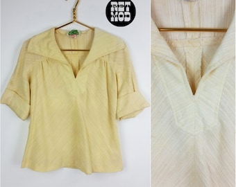 Super Comfy Vintage 70s Cream / Pastel Yellow Gauzy Cotton Boho Top!