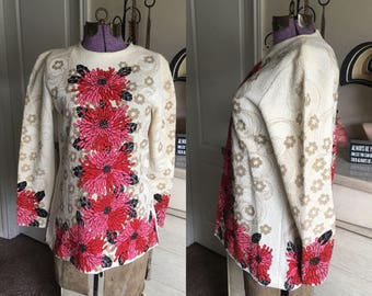 Vintage 1960's 70's Glenbrooke Tunic with Floral Print S/M