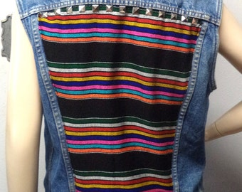 Vintage Levis Distressed denim Vest -Studded  ----BAJA Mexican Fabric  ---Size  Small--Med