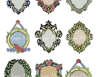 Antique Frames Collage Sheet - Nine Victorian Borders - Instant Download - Printable