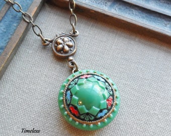Vintage Glass Button Necklace, Kelly Green with Floral and Geometric Designs, Red, Blue, and Black, Antique Brass, Timeless Trinkets, OOAK