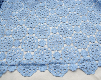 Lace Fabric Blue Floral Exquisite Wedding Fabric 47.2 inches width 0.5 yard