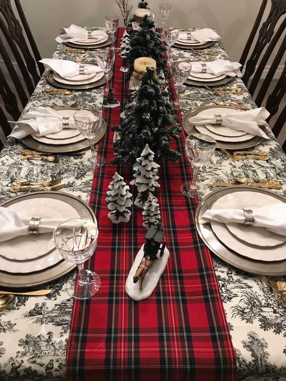Tartan Plaid Table Runner   Tartan Table Runner, Stewart Plaid Runner, Tartan Tablecloth, Christmas Table Linens, Seasonal, Christmas Plaid