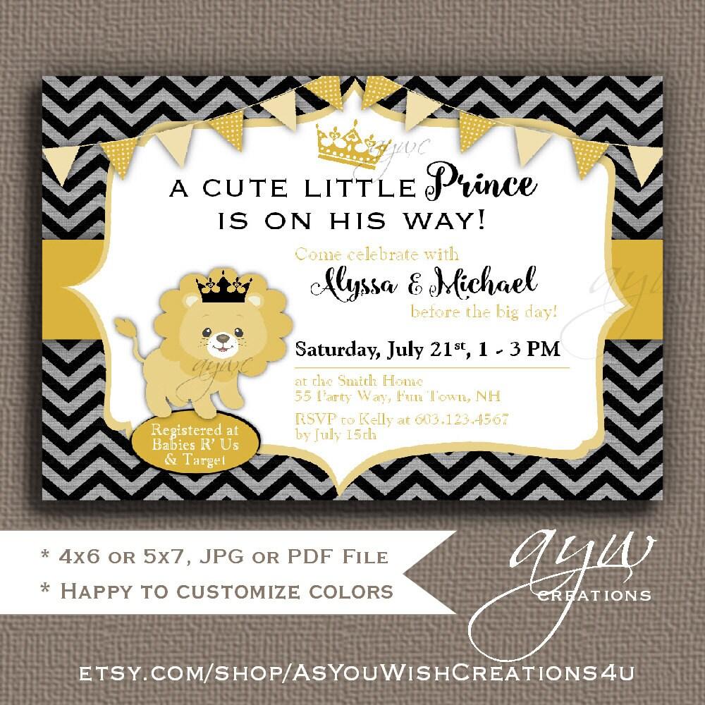 Lion Baby Shower Invitation Lion Prince Baby Shower