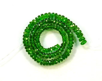 "Chrome diopside faceted rondelle bead AAA 2.5-4.5mm 9"" strand"