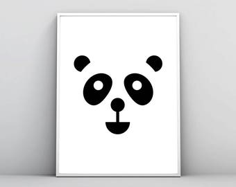 Panda Bear Print, Animal Wall Art, Minimal Face Illustration, Nursery Decor, Baby Children Kids Room, Printable Poster, Digital Download