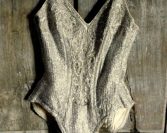vintage silver lame showgirl burlesque costume