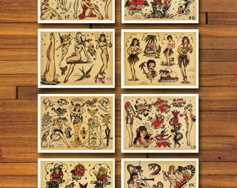 Sailor Jerry Pinup 8 Page Tattoo Flash Set