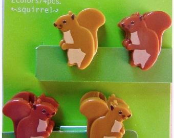 4 mini clips SQUIRREL - Midori, to decorate and organize