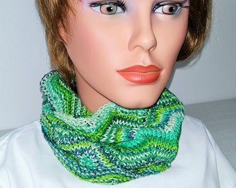 Scarf Snood Summer Cowl green 100% Cotton
