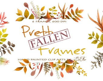 Greenery Fall Frame Clipart Leaf Leaves Frames Woodland Vector Clip Art Green Decor Watercolor Fallen Autumn Wreath Wedding Illustration