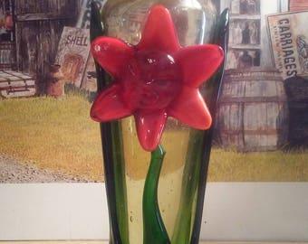 Handblown seeded art glass vase with red flower overlay