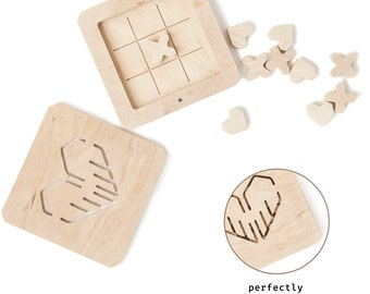 """Wooden Board Game Tic Tac Toe """"Love is…"""""""