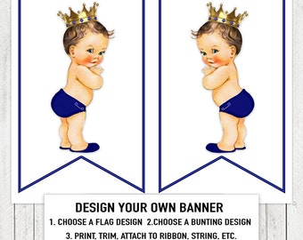 Royal Blue Prince Baby Shower Banner Bunting Flags Royal Blue Prince Baby Shower Banner Brunette