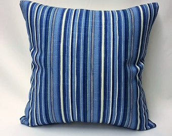 Shades of Blues, Cream, & Green Stripped Decorative Pillow Cover