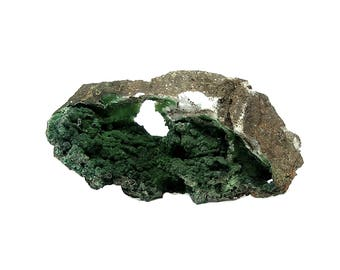 Arsendescloizite rare green crystalline druzy on rock matrix Mineral Specimen, Mined in Mexico 1980s, Collector's Choice