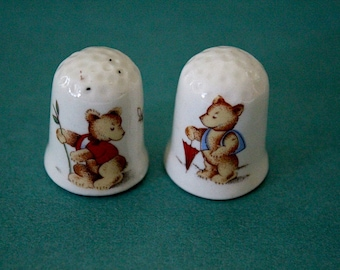 Pair Little Bear Thimbles Porcelain Vintage Sewing Collection Two Teddy Bears Cute
