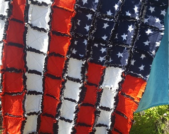 American Flag Rag Quilt , Patriotic Gift , Fourth of July , Gift for Him