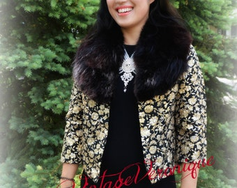 Fabulous Brocade Black and Golden Roses / Floral Light Weight Jacket with Genuine Black Fox Fur Collar / Size Extra Small 0 2 4 / Excellent
