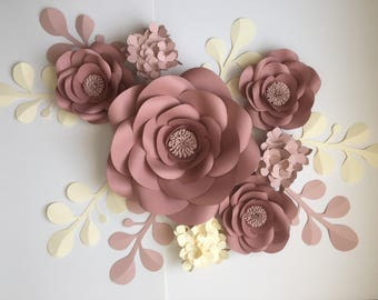Paper flowers wall home office nursery decor