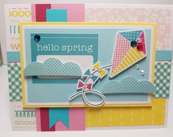 Handmade All Occasion Card, Hello Spring, Kites