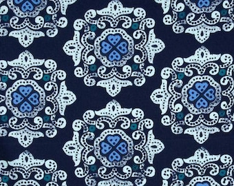 Ty Pennington Delhi Fabric by the Yard, Free Spirit Fabrics, Quilting Fabric, Impressions, Cotton Fabric, Sateen, Geometric Fabric, Blue