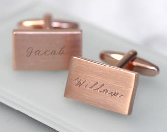 Rose Gold Name Cufflinks, Personalized Cufflinks, Fathers Day Gift, Childrens Names, Cufflinks Daddy,Personalised Rectangular Name Cufflinks