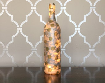 Silver & Gold Polka Dot Light Up Wine Bottle