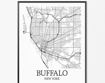Buffalo Map Art Print, Buffalo Poster Map of Buffalo Decor, Buffalo City Map Art, Buffalo Gift, Buffalo New York Art Poster