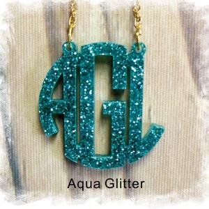 Monogram Necklace - Circle Monogram 3 Initial Name Acrylic Monogram Jewelry ,Personalized Gift, Bridesmaids Gift