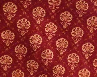 "Waverly fabric screen print Foulard Red 1 yard x 54"" wide new 100% cotton washable"