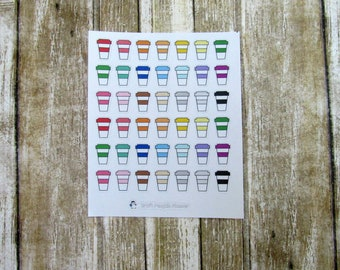 Coffee Sticker, Coffee mug, Coffee Stickers, Coffee Lover stickers, Functional stickers, coffee addict, hand drawn