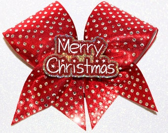Beautiful Merry Christmas -   Rhinestone Christmas Cheer bow 3-D cutout by FunBows !