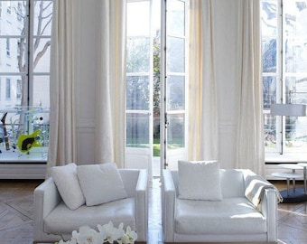 Two Pairs (4 Panels) Extra Long Curtains, Two Story Drapes, Off