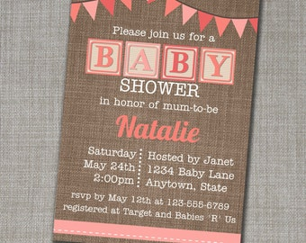Baby Shower Invitation - Baby Shower Invite - Girl Baby Shower Invite - Alphabet Blocks Invite - Coral Baby Shower - Edit yourself at home!