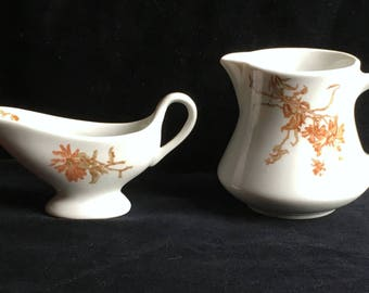 Shenango Restaurant Hotel China Pitcher (12 oz.) and Sauce Boat (2 oz.) with Daisies in Excellent Condition
