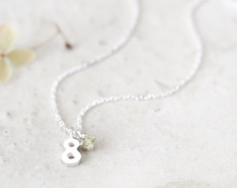 Number 8 Necklace 925 Sterling Silver August Birthstone Peridot Tiny Charm Pendant