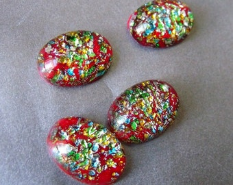 Red Kaleidoscope Harlequin Glass Opal 18X13mm Oval Cabochons 4 Pcs