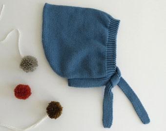 Blue pixie hat 100% fine Merino wool