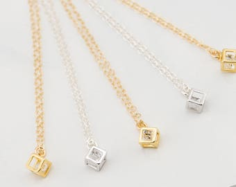 Silver or Gold Charm Necklace with CZ Crystal, Gold or Silver Layering Necklace, Square necklace, Cube Necklace,