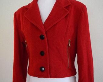 salvation armani vintage red wool cropped jacket - cropped jacket - red short jacket - vintage size medium