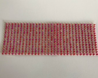 Plate of 420 rhinestones 5mm red mother of Pearl stickers