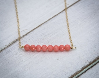 Bar necklace, coral necklace, natural stone necklace, pink coral necklace, dainty necklace, simple necklace, coral jewelry, gift under 50.