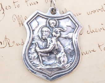 St Christopher's Shield Medal - Patron of Travelers and Lifeguards - Sterling Silver Antique Replica